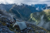 Campsite on the side of Mount Crowfoot, Fiordland