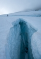 Crevasse and climber, Hooker Glacier