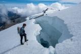 Climber and crevasse, Hooker Glacier