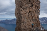 Abseiling off 'Tower of Madelon', East Greenland