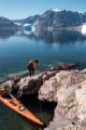 Sea kayak landing, Bear Islands, East Greenland