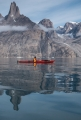 Paddling past Penguin Tower, East Greenland