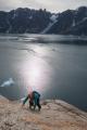 Climbing on 'Blueberry Buttress', East Greenland
