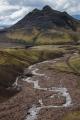 Walkers crossing the river Grashagakvisl, Iceland