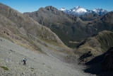 Descending into the gap in the Skippers Range, New Zealand