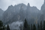 Cathedral Spires in rain, Yosemite Valley