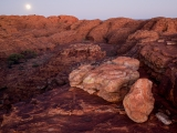 Moonset, boulders, domes