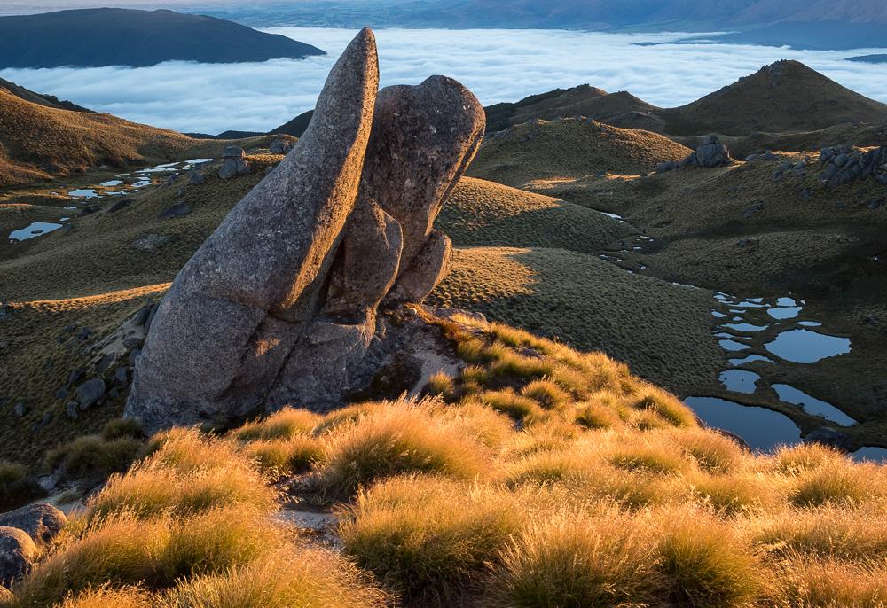Tor at sunrise, Mount Titiroa