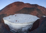 Magni crater, snow, dawn