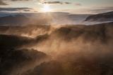 Steam and Myrdalsjokull icecap at dawn