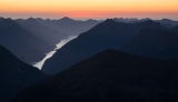 Wet Jacket Arm, twilight, Fiordland
