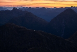 Tarns on the Dingwall Mountains, dawn, Fiordland