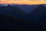 Tarns on the Dingwall Mountains, dawn, Fiordland