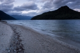 Hope Arm beach and The Monument, Lake Manapouri