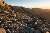 Talus in evening light, Eyre Mountains
