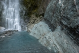 Waterfall and schist, Marks Flat