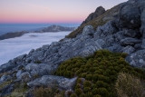 Hunter Mountains to Mount Titiroa, twilight, Fiordland