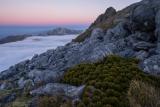 Hunter Mountains to Mount Titiroa, twilight, Fiordland