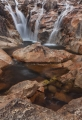 Orange granite waterfall